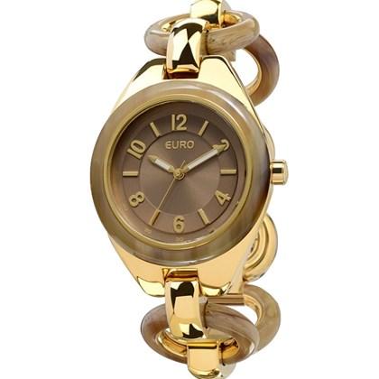 b1fff55c93b Relógio Euro Feminino Dourado Marrom EU2035LVF 4D - My Time