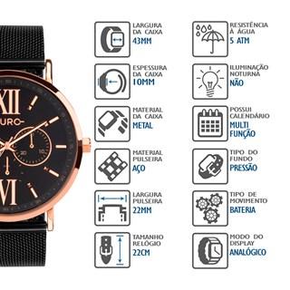 Relógio Euro Feminino Multifunção EU6P29AHGBPS/5P