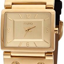 Relógio Euro Feminino Quadrado Dourado Marrom EU2035DY/2P