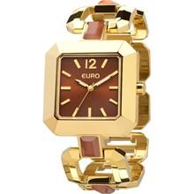 f574237c78e Relógio Euro Feminino Quadrado Dourado Marrom ...