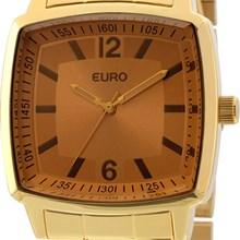 Relógio Euro Feminino Quadrado Dourado Marrom EU2035XZP/4D