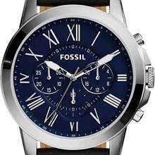 Relógio Fossil Grant Masculino Cronógrafo Couro Azul FS4990