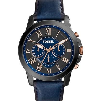 5b4a92b8660 Relógio Fossil Masculino Cronógrafo Couro Azul FS5061 - My Time