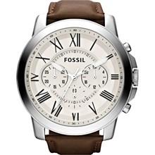 Relógio Fossil Masculino Cronógrafo Couro Branco FS4735