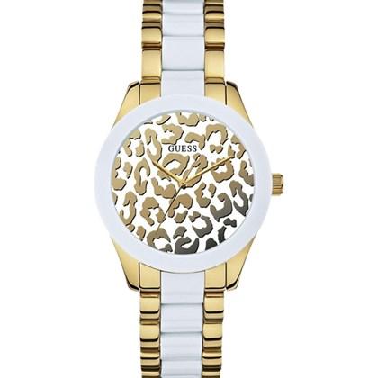 ecb7a648f30 Relógio Guess Feminino Safari Dourado Branco 92514LPGSDA1 - My Time