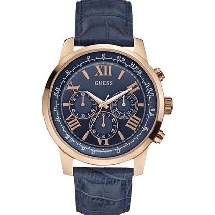 Relógio Guess Masculino Cronógrafo Dourado Azul 6bde16c695