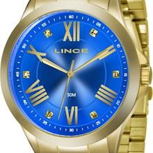Relógio Lince Feminino Dourado Azul LRGJ046L A3KX