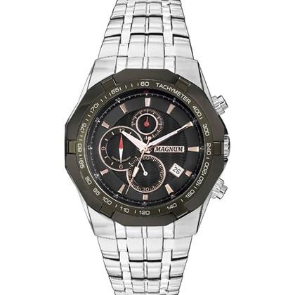 cf1ec642950 Relógio Magnum Masculino Cronógrafo Prata Preto MA32201P - My Time