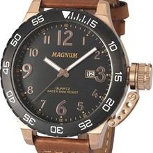 Relógio Magnum Masculino Dourado Marrom Preto MA33700P