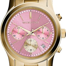 Relógio Michael Kors Feminino Cronógrafo Dourado Rosa MK6161