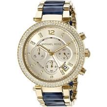Relógio Michael Kors Parker Feminino Cronógrafo Dourado Azul MK6238