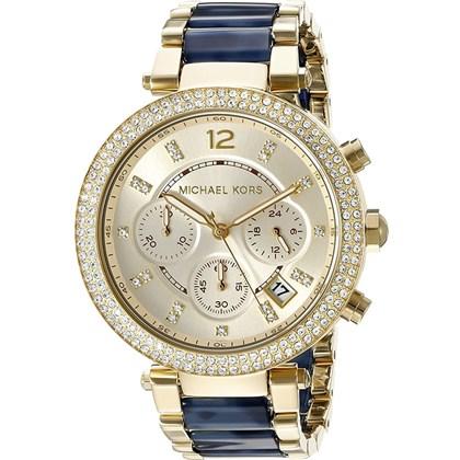 cf2c951b7fc Relógio Michael Kors Parker Feminino Cronógrafo Dourado Azul MK6238 ...