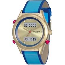 Relógio Mondaine Feminino Couro Dourado Azul 99120LPMVDH3