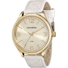Relógio Mondaine Feminino Couro Dourado Branco 76618LPMVDH2