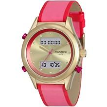 Relógio Mondaine Feminino Couro Dourado Rosa 99120LPMVDH1