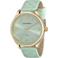 Relógio Mondaine Feminino Couro Dourado Verde 76618LPMVDH3