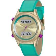 Relógio Mondaine Feminino Couro Dourado Verde 99120LPMVDH4