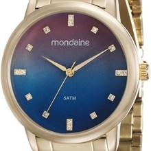 Relógio Mondaine Feminino Dourado Azul 53511LPMVDE3
