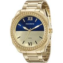 Relógio Mondaine Feminino Dourado Azul 76558LPMVDE1
