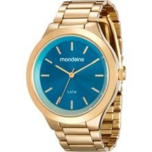 Relógio Mondaine Feminino Dourado Azul 76562LPMGDE3
