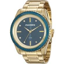 Relógio Mondaine Feminino Dourado Azul 76568LPMVDE2