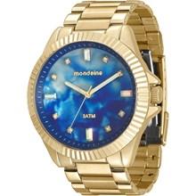 Relógio Mondaine Feminino Dourado Azul 76642LPMVDE2