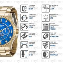 Relógio Mondaine Feminino Dourado Azul 78664LPMVDA2