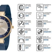 Relógio Mondaine Feminino Dourado Azul Esteira 76597LPMVLE2