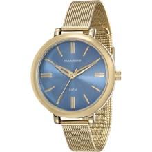 Relógio Mondaine Feminino Dourado Azul Esteira 76616LPMVDE3