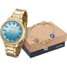 Relógio Mondaine Feminino Dourado Azul Kit Pulseira 53533LPMVDE3K