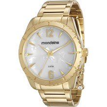 Relógio Mondaine Feminino Dourado Branco 76572LPMVDE2