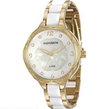 Relógio Mondaine Feminino Dourado Branco 76671LPMVDE3