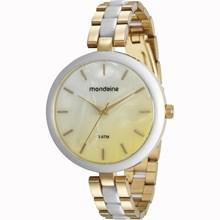 Relógio Mondaine Feminino Dourado Branco 76681LPMVDE1