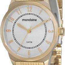 Relógio Mondaine Feminino Dourado Branco 78185LPMBDA1