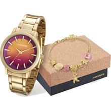 Relógio Mondaine Feminino Dourado Colorido Kit Pulseira 53533LPMVDE1K