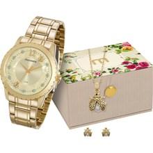 Relógio Mondaine Feminino Dourado Kit Colar e Brinco 99146LPMVDE1K1