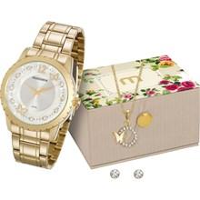 Relógio Mondaine Feminino Dourado Kit Colar e Brinco 99146LPMVDE2K1