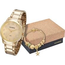 Relógio Mondaine Feminino Dourado Kit Pulseira 53548LPMKDE1K1