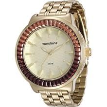 Relógio Mondaine Feminino Dourado Marrom 76624LPMVDE3