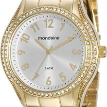 Relógio Mondaine Feminino Dourado Prata 76561LPMVDE1