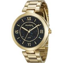 Relógio Mondaine Feminino Dourado Preto 76615LPMVDE2