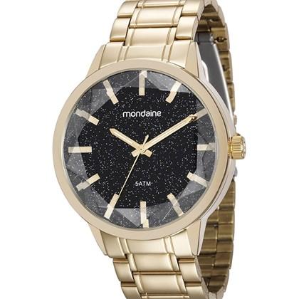 4c9fd7d1a Relógio Mondaine Feminino Dourado Preto 83344LPMVDE1 - My Time