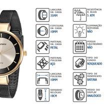 Relógio Mondaine Feminino Dourado Preto Esteira 76597LPMVHE3