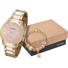 Relógio Mondaine Feminino Dourado Rosa Kit Pulseira 53548LPMKDE2K1