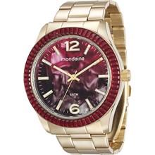 Relógio Mondaine Feminino Dourado Vermelho 76596LPMVDE3