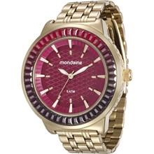 Relógio Mondaine Feminino Dourado Vermelho 76624LPMVDE2