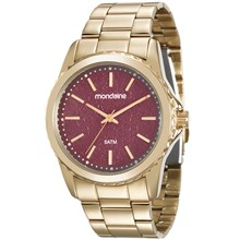 Relógio Mondaine Feminino Dourado Vermelho 99077LPMVDE2