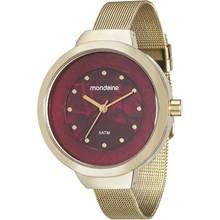 Relógio Mondaine Feminino Dourado Vermelho Esteira 99052LPMVDE1