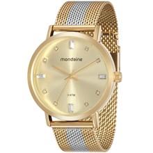 Relógio Mondaine Feminino Esteira Dourado Prata 76698LPMVBE3