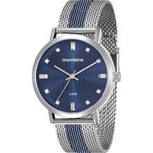 Relógio Mondaine Feminino Esteira Prata Azul 76698LPMVOE2